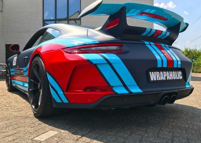 Carwrapping Special Wrap Martini Striping Porsche GT3 F2