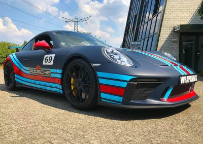Carwrapping Special Wrap Martini Striping Porsche GT3 F3
